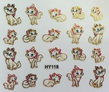 Nail Art 3D Decal Stickers Cute Kitty Cat with Pink Bow Kitten HY118