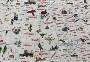 North America USA States Map United States Explore School Cotton Valance t2/32