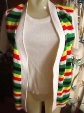 MEDIUM True Vtg 70s RAINBOW STRIPE Orlon Acrylic Thin Soft OPEN Sweater Top