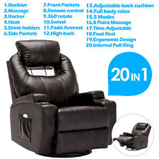 Massage Recliner Sofa Leather Vibrating Heated Chair w/Adjustable Headrest Brown