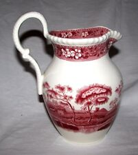 """red transferware Copeland Spode's Tower England  Pitcher 8""""  4 cups immaculate"""