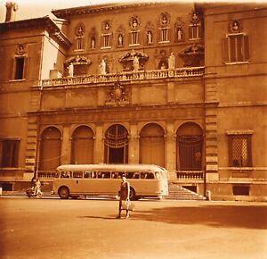 ITALIE Rome Palais Borghese Bus 1952Photo Stereo Plaque verre Vintage VR23L2n