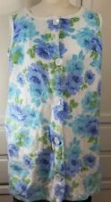 Vintage 1960s Mod Terry Cloth Blue and Green White Robe Cover Up Jumper