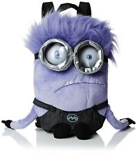 "14"" DESPICABLE ME MINIONS 3D PLUSH SOFT TOY KIDS SCHOOL BACKPACK BAG PURPLE NEW"