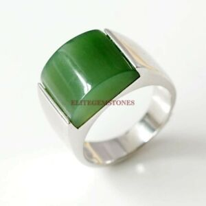 Natural Green Onyx Gemstone with 925 Sterling Silver Ring for Men's EG1410