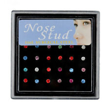 Body Piercing Surgical Steel Jewelry multicolor 24P Box Nose Studs Set Nose Ring