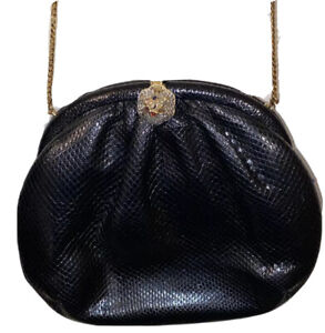 Vintage Judith Leiber Karung Clutch Bag/Miniaudiere. Front Clasp With Jewels