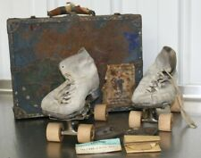Vintage Chicago Women's White Roller Skates with Wood Wheels Steel Case Cats Paw