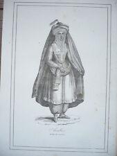 GRAVURE ORIGINALE COSTUME 19ème SIÈCLE FEMME DE LA MECQUE ARABIE