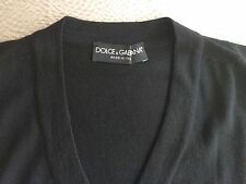 DOLCE & GABBANA Italian V-Neck Wool Sweater, Size 46 Small