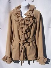 QVC Marc Bouwer Tan Crepe Jacket with 2 Sets Collars & Cuffs Size XS NWT