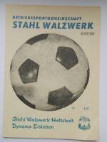 Programm 21.11.87 Stahl Walzwerk Hettstedt  Dynamo Eisleben Bezirksliga Halle