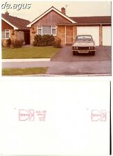 """Vintage color Photo circa 1970s houses, car with """"PVW"""" license plate"""