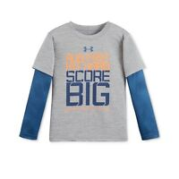 NEW - Under Armour Little Boys' Layered-Look Graphic-Print T-Shirt- Gray