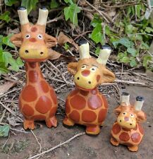 Super Cute Giraffe Family Set of 3 Ornament Figure Wooden