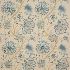 COLEFAX & FOWLER JACOBEAN BAPTISTA EMBROIDERED LINEN FABRIC 10 YARDS BLUES