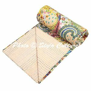 Grey Paisley Bedding Quilt Cover Indian Reversible Kantha Bedspread Coverlet