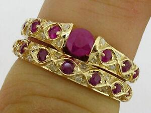 R084 Genuine 9K or 18K Gold Natural Ruby & Diamond Engagement Wedding Ring set
