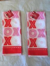 Valentine's Day Xoxo Pink/Red (2) Hugs & Kisses Kitchen Hand Towels.
