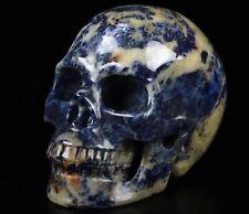 "5.0"" SODALITE Carved Crystal Skull, Realistic, Crystal Healing"