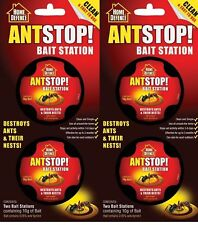 4 Pack Home Defence Ant Stop Bait Station Pre-Baited Kills Ants & Nests 10g x 4