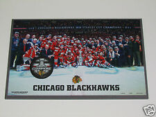 2015 CHICAGO BLACKHAWKS Stanley Cup Champions Puck &Team Photo WOOD PLAQUE 11x17