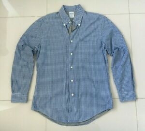 NWOT Brooks Brothers Mens Blue Check Long Sleeve Shirt - Size M - RRP $169