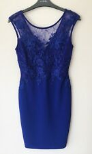 Lipsy Cobalt Blue Lace Bodycon Dress 10 Rrp £65