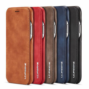For iPhone 12 11 Pro XS Max 8 7 6S Leather Flip Magnetic Wallet Stand Case Cover