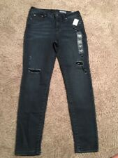 Women's Aeropostale Mid Rise Ankle Jeggings Dark Jeans Distressed Size 8