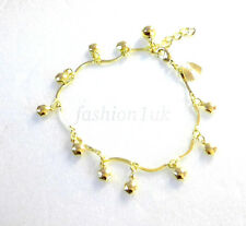 Women Lady Bell & bead Bracelet maybe anklet 18+2.5cm 14K Yellow Gold Plated