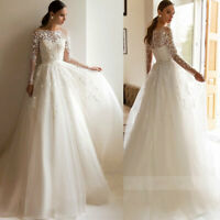 White Ivory Graceful Wedding Dresses Bridal Gowns Lace Appliques Sweep Train