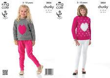 Chunky Knitting Pattern King Cole Girls Long or Short Heart Motif Jumper 3854