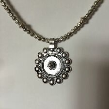 Silver Beaded Indian Pendant Necklace Dark Silver Tribal A026