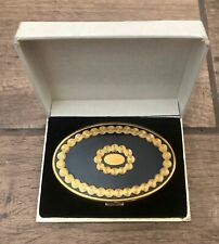 Vintage Richard Hudnut Art Deco Gold & Black Mirror Makeup Compact w/ Box