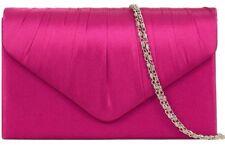 Pink Clutch Bag Ladies Cerise Satin Evening Bag Fuchsia Shoulder Bag Hot Pink