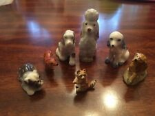 Lot of Six Vintage Porcelain Ceramic Mini Small Assorted Breeds of Dog Figurines