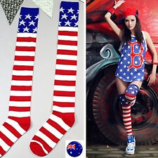 Women Lady Star Red Striped Flag Over Knee Leg Warm Thigh High Socks Tights