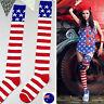 Women Lady Star Red Striped Flag Over Knee Leg Warm Thigh High Socks Tights