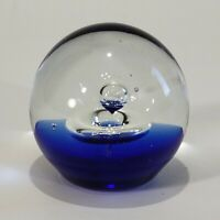 "Hand Blown Glass Ball Art Paperweight Controlled Bubbles 2.5"" Blue Clear"