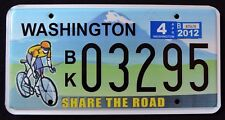 """WASHINGTON """" SHARE THE ROAD - BICYCLE """" WA Sport SPECIALTY License Plate"""
