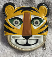 Vintage 1960's Zippered Vinyl Tiger Coin Purse With Blinking Lenticular Eyes