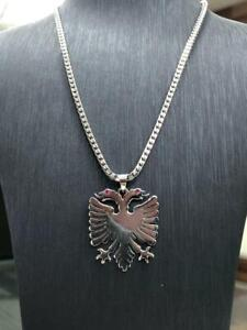 925 Sterling Silver Solid Genuine Albanian Red Eye Eagle Pendant Free Engraving