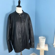 Zara Man Navy Blue Faux Leather Biker Jacket, Men's Size XX Large