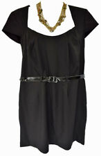 Olivia Matthews Women's Black Dress Size 18W Sheath Belted Square Career, NEW