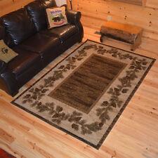 "4x6 (3'11"" x 5'3"") Lodge Cabin Rustic Pinecone Brown Area Rug *FREE SHIPPING*"