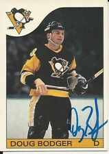 Signed Doug Bodger Pittsburgh Penguins 85-86 O-PEE-CHEE  Hockey Card #38