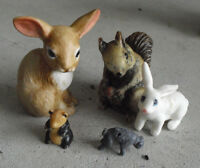 Lot of 5 Vintage Animal  Figurines Rabbits Squirrel Panda Odd Dog