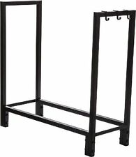 """30""""  STEEL LOG HOLDER Rack w/ Hooks for Accessories! Firewood Fireplace Outdoor"""