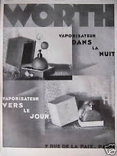PUBLICITÉ 1928 WORTH VAPORISATEUR DANS LA NUIT VERS LE JOUR - ADVERTISING